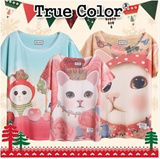 [New Year Special]Design By Korea True Color Short sleeved T-shirt Unique printing High quality cotton Women T-shirt Christmas Gifts