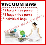 High Quality Vacuum Storage Bag 11 pcs = 9 bags + 1 free pump + 1 free Gift!!! (also available in 8 bags set) Air tight Space compression storage box