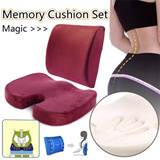 New Set SALE Event ▶Magic Memory Foam (Back Supporter + Sitting Mat) Cushions for Beauty Body & Healthcare◀ Feel Comfort n Correct Posture-Unisex / Home n Office Cushion