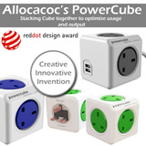 Allocacoc Powercube 250v Power strip / Power Socket / Charger / Travel Adapter / USB charger / Plug / Charging Station / Iphone6 compatible / portable charger /power bank / powerbank