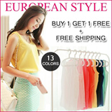 [BUY 1 GET 1 FREE]  Free Shipping  European Style Top/ Tank Top/ Singlet/ Candy Colors Blouse/ Basics/chiffon Top