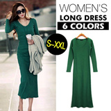 【M18】 2104 Autumn and  winter new style women cloth/ long style and pure cotton/ long-sleeved  and knitted dress/ V-neck collar and slim-fitting / over-hip and sexy  dress