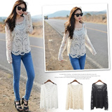 [buy 2 one shipping fee]New Arrival! Lady Fashion LACE KNIT SMOCK/Long-sleeve Lace Tee/High Quality/3COLOR