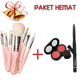 (CHISTMAS PACKAGE)BRUSH SET MAC HELLO KITY ISI 7 KUAS+ BLUSH ON DOU NAKED FREE EYELINER MAC