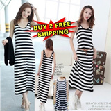 [BUY 2 FREE SHIPPING] 2014 Fashion Women Bohemian Long Dress / Black and White Stripe Dress/ One-piece Dress/Jumper Skirt/HOT