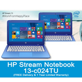 HP Stream Notebook - 13-c024tuWindows 8.1Intel® Celeron® N2840 with Intel HD Graphics Free 1 year Accidental Damage Protection Care
