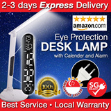 Eye Protection LED Table Lamp Desk Reading Energy Saving Book Light with Touch Panel Calendar Thermometer Alarm Clock for Office Study Desk Table lamp Nail Manicure Singapore Seller local Warranty etc