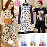 [2014 Summer New Arrival] NEW DESIGNS Ladies Dresses/ Floral Long Dresses/Long sleeve Chiffon Dress/Korean Style Round Neck Floral Render Ddress/Bambi Dress/ Size S to XXL