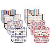 USA BRANDS★Waterproof Crumbholder bib★Stay-On bibs with back button★baby/boy/gal/toddler★Premium Quality