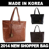 ★MADE IN KOREA★Womens Vintage Handbag Shopper Tote Shoulder Composite Bag/PU Leather/Casual Large Tote Bag
