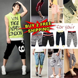 buy 2 free shipping ★Men drawstring pants / sports pants/ Baggy pants /  training pants