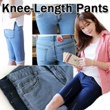 Street Style Jeans Pants Skinny Jean Style/Made In Korea / Blue Leisure Denim Knee-Length Pants
