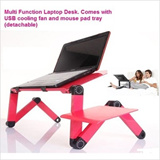 Multi Functional Ergonomic Foldable Laptop table stand E-Table Portable Laptop Desk with USB Cooler