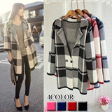 2014 Autumn New Arrival/British Style Women Fashion Plaid Pattern Knit Cardigan/Jacket/Outer Wear/Cardigan Knitted Sweater/Loose Coat/4 COLOR