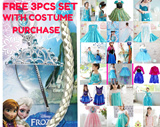 FROZEN PRINCESS LOVELY DRESS FULL COSTUME SET!! FREE TIARA !!! WITH DRESS PURCHASE NEW ARRIVAL SALES PRICE ANNA ELSA