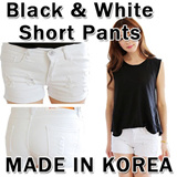 Black and White Short Pants/Made in Korea/2 colors vintage denim shorts hot pants distressed skinny vintage short jean