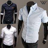 [WIZI] SLIM FIT POCKET POINT SHIRTS ■■■ SOLID / CHECK / PATTERN / SHORT SLEEVES / LONG SLEEVES / causal.