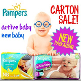 【PAMPERS】★NEW PACKAGING!!★ Pampers Active Baby / New Baby Diapers ★Carton Sale★