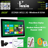 Iconia W511 Free Ebro Magnetic Stylus TP-11 Red +Modem Advan WI FI Router Jet 108 / Huawei E173 USB Dongle Starter Pack XL -(Garansi Resmi Acer 1 tahun)-10.1 Inch-Genuine Windows 8 32-bit