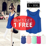 BUY 1 GET 1 FREE BASIC CHIFFON VEST / SHIRT /BLOUSE / BASIC TOP / OFFICE SHIRT