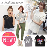 LL61 Super character set! South Koreas Harajuku wind ★ slim patterns camouflage lace T-shirt ★ lovely cat logo stylenanda shirts T-shirts / essential colorful loose T-shirt. This summer is hot!