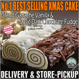 [WGF Gourmet Gift] Traditional Christmas Xmas Yule Log Cake Vanilla Dark White Chocolate Fudge. Freshly Made in Singapore by Veteran Food Maestro Bruce Lei of Bake Mission.