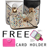 [Free Card Holder] Luxury Multifunction Diamond Mobile Phone Bag/party clutch