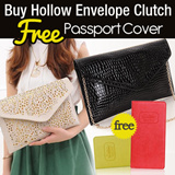 [FREE PASSPORT WALLET] Trendy Hollow Envelope Clutch and Crocodile Clutch with Gold Chain/Good Quality/Tas Wanita/Tas Pesta/Clutch bag/New Arrivals