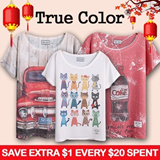 New design updates[Design By Korea]True Color Short sleeved T-shirt Unique printing High quality cotton Women T-shirt Christmas Gifts etc