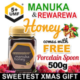 [CHRISTMAS CRAZY DISCOUNT] UMF®5+ Manuka Honey and RewaRewa Honey by SuperMoms.(500g) Pure New Zealand Product. FREE Porcelain Spoons for Christmas. Follow our seller shop and get FREE MameQ.