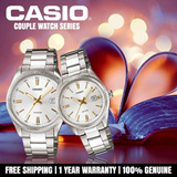CASIO Couple Watches Stainless Gold Steel Metal Classic Stylish MTP LTP Fashion Series Vday Valentine Day Gift