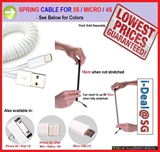 Spring Retractable Micro USB iPhone 4S 5S iPad AIR Cable Samsung GALAXY S3 S4 NOTE 2 3 XIAOMI REDMI