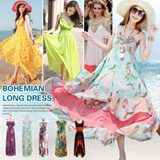 [2014 Summer New Arrival]Korean and European Style Lady long skirt/Maix dress/ one piece/ Long Bohemian Skirt/Long style dress/Maix dress/ Ladys high quality one-piece/ Horizontal stripes /Hot Sale