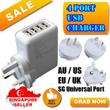 4 Port USB Wall / Travel Charger adapter with SG/UK Plug. For iPhone 4 4S 5 5S 5C iPad Air Mini Sony HTC LG XiaoMi Redmi Hongmi Samsung Galaxy S5 S4 S3 Note 2 3 LTE Tab Ace