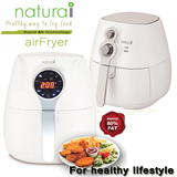 Naturai Air Fryer NAF250i. Available in Digital Model NAF280i.The Air-fryer uses rapid air circulation technologies to fry foods using less then 80% of oil.
