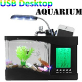 Mini USB Desktop Aquarium Fish Tank LCD Lamp Light LED Clock with alarm clock Calendar Time Date Temperature for Office Homes Best CNY Gift