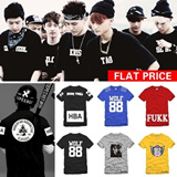 [FLAT PRICE]Korean star EXO WOLF 88/BIGBANG G-Gragon/ One of a Kind/Hood By Air HBA X Been Trill Kanye West/MMJ/EVISU-M/Pyrex 23/OBEY HIPHOP BBOY/Cartoon Short T-shirt/Stars Tops Hoodies/SIZE S-XXXL