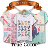 Design By Korea True Color Short sleeved T-shirt Unique printing High quality cotton Women T-shirt Christmas Gifts