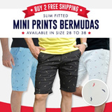 Men Slim Fit Casual Shorts Featuring The Mini Prints Design Provides You Style And Comfort With Elastic Fabric (#Bermuda #CNY)
