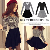 [BUY 2 FREE SHIPPING]British Style Houndstooth Dress/ONE-PIECE DRESS/Elegant Look/Houndstooth Flare Dress/New Listing!