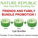 Bundle of 3 jars ★ [Nature Republic] Soothing and Moisture Aloe Vera 92% Soothing Gel 1+1+1