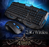 New 2.4G Special Computer Accesories Gaming Gamer Wireless Laser Keyboard and Mouse USB 3.0 with Black White Luxur Gold RK-6100