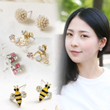 FLAT PRICE)Earrings 30 designs No allergy titanium clip swarovski element gold silver cuibe 14kgp