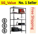 5-Tier Wire Steel Rack with Adjustable Shelf/Storage Cabinet Shelving for Store Room/Organizer Living Room and Kitchen rack/shoe rack/Storage box/Boltless rack/Metal Rack/Furniture/Household Goods