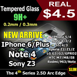 Cmei Tempered Glass Screen Protector Iphone 6/Plus/5/5S/5C/4S S3/4/5 Note 4/3/2 Xiaomi Redmi 1S/Mi3/2/Note LG G2/G3/G Pro/Nexus 5 Sony Xperia Z/Z1/Z2 HTC One/Max/M8/E8 Zenfone 5/6 OnePlus