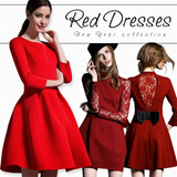 2015  New Year collection  red dresses / slim Princess Dress