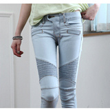 New Premium Unique Detail Rider Style Slim Line Stretchy Skinny Jeans Pants 3 Colors