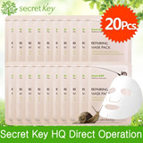 【Secret Key HQ Direct Operation】Snail+EGF Repairing mask pack/mask sheet 20g★20Pcs★anti-aging /skin recovery/wrinkle care/acne scar/Christmas gift ideas mask/skincare