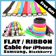 Flat/Ribbon Cables Samsung iPhone MicroUSB iPad Plug Galaxy S2 S3 Siii Note Blackberry
