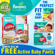 FREE ACTIVE BABY PANTS(1PACK!!!) w EVERY PURCHASE! Pampers Baby Dry Easy Ups Swaddlers Cruisers - World No.1 Diapers! Free and Speedy Delivery! Lowest Price in SG! Maternity Kids